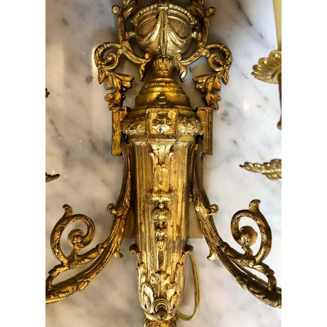 Pair of English Adam Style Brass Dore Wall Sconces Two-Light Arms For Sale - Image 9 of 11
