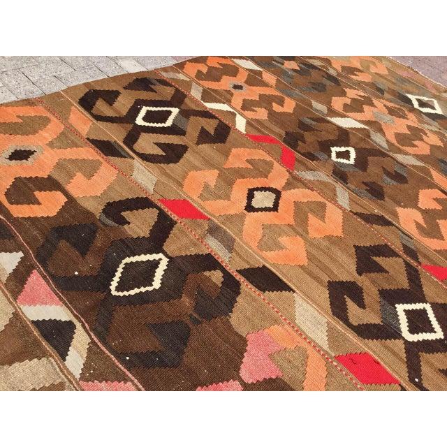 Cotton Vintage Brown Turkish Kilim Rug For Sale - Image 7 of 10