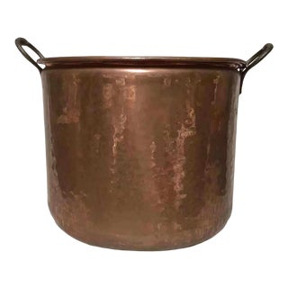 19th Century French Copper Cauldron, Double Handle For Sale