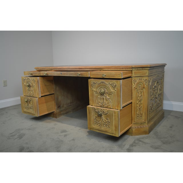 Tan French Rococo Style Custom Quality Carved Executive Desk For Sale - Image 8 of 12