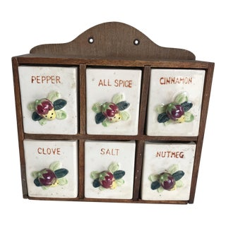 Vintage Ceramic Spice Storage Cabinet For Sale