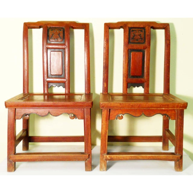 This pair Antique Circa 1800-1849 Chinese Children Chairs is hand crafted in elegant Ming style. Made with precious...