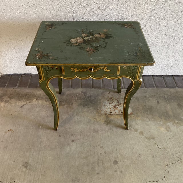 19th c hand painted side table one drawer. Beautiful hand painted floral motif throughout.