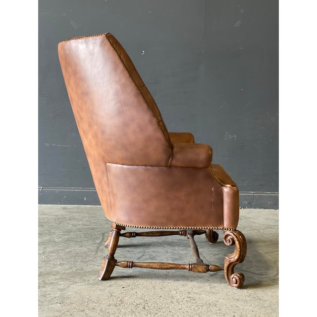 Leather Wing Back Chair For Sale - Image 4 of 10