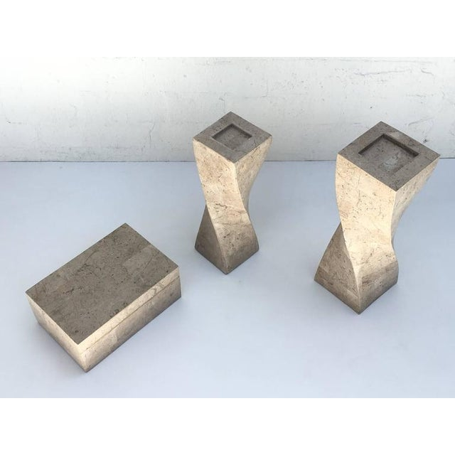 Mid-Century Modern Polished Travertine Box and Candlesticks by Maitland-Smith For Sale - Image 3 of 7