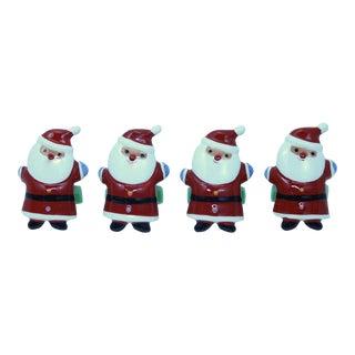 Ceramic Santa Claus Napkin Rings - Set of 4