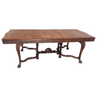 Early 20th Century Walnut Hairy Paw Dining Table For Sale