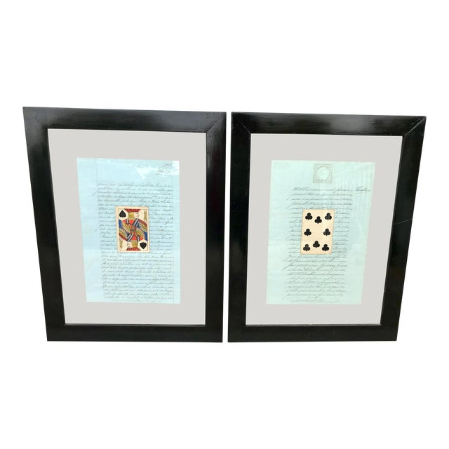 Early 20th Century Antique French Letters and Playing Card Collage For Sale
