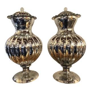 Bolubous Form Mercury Jars or Lidded Urns - a Pair For Sale