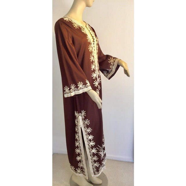 Late 20th Century Moroccan Caftan, Maxi Dress Kaftan, 1970 Size Small For Sale - Image 5 of 13