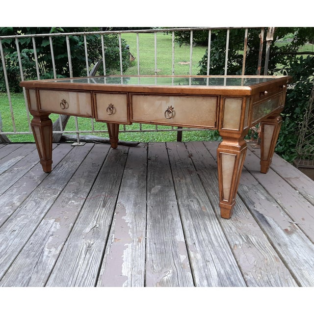 Theodore Alexander Eglomise Gilded Wood and Glass Coffee Table With 3 Drawers and 2 Leather Pull Outs For Sale - Image 13 of 13