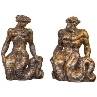 Jean Mayodon Pair of Gilt Ceramic Sculptures For Sale