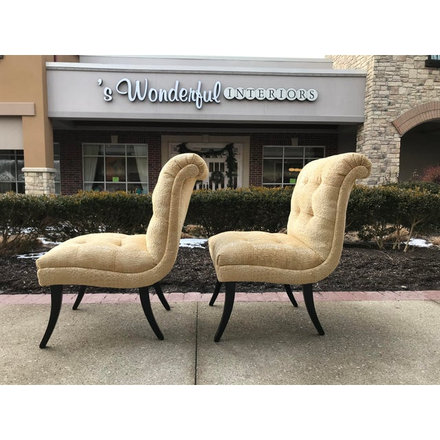 Hollywood Regency 1940s Hollywood Regency Vintage Tufted Klismos Slipper Chairs- a Pair Champagne Velvet For Sale - Image 3 of 10