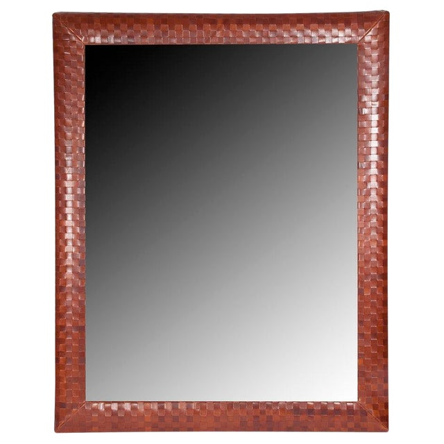 Basket Weave Luggage Leather Framed Mirror For Sale