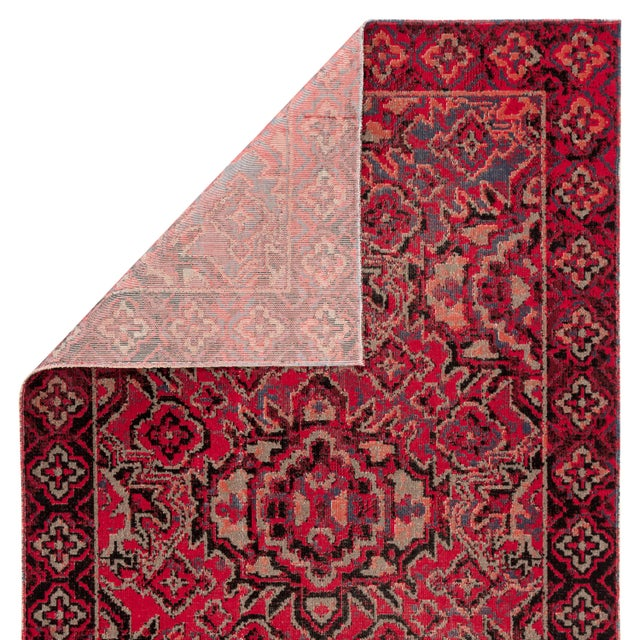 """Contemporary Jaipur Living Chaya Indoor Outdoor Medallion Red Black Area Rug 5'3""""X7'6"""" For Sale - Image 3 of 7"""