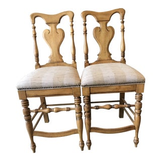 Domain Furniture Farmhouse Counter Stools- a Pair For Sale