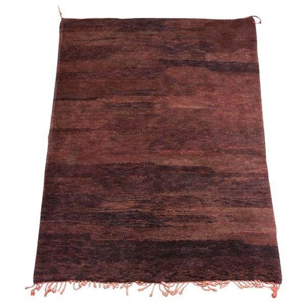 Mid 20th Century Vintage Moroccan Brown Tribal Berber Rug For Sale - Image 5 of 5