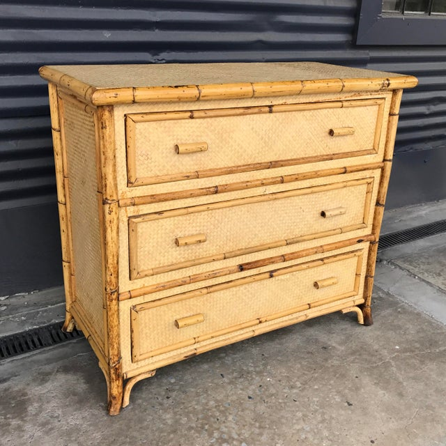 Hollywood Regency Calif-asia Vintage Rattan Chest of Drawers For Sale - Image 3 of 11