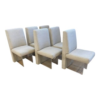 """Vladimir Kagan 1975 """"Clos"""" Dining Chairs + Lucite Base, Set of Six For Sale"""