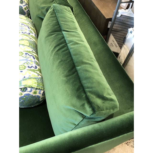 Keeneth Ludwig Chicago Highland House Emerald Green Velvet Sofa For Sale In Charlotte - Image 6 of 11