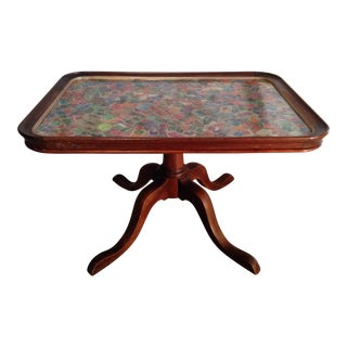Tramp Art Coffee Table With Tea Tray