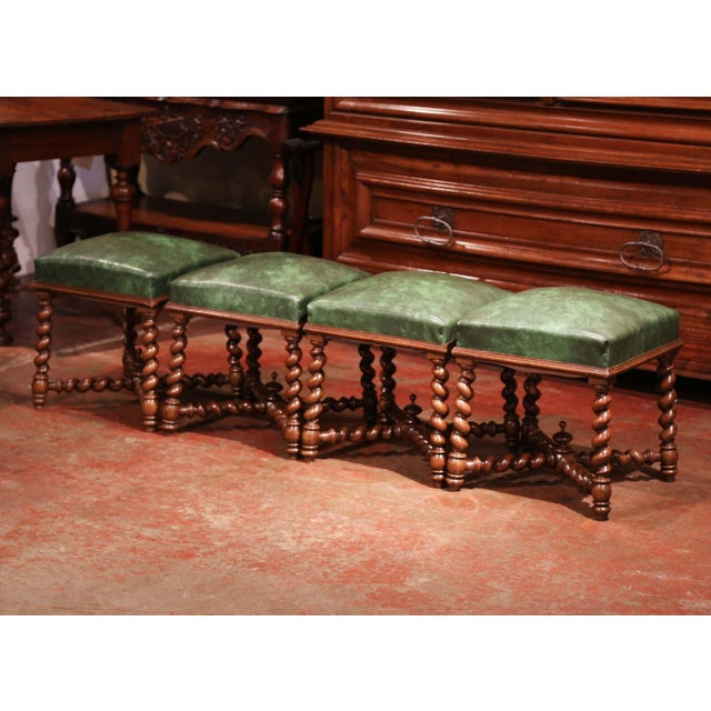 Place this suite of four antique stools in a den or game room for extra seating. Crafted in France, circa 1860, each...