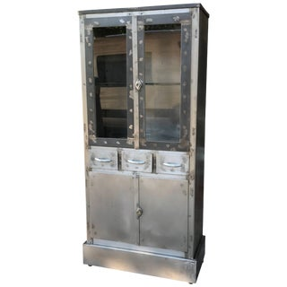 Art Deco Industrial Brushed Steel Medical Apothecary Cabinet For Sale