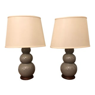 Christopher Spitzmiller Medium Three Ball Ceramic Table Lamps - A Pair For Sale