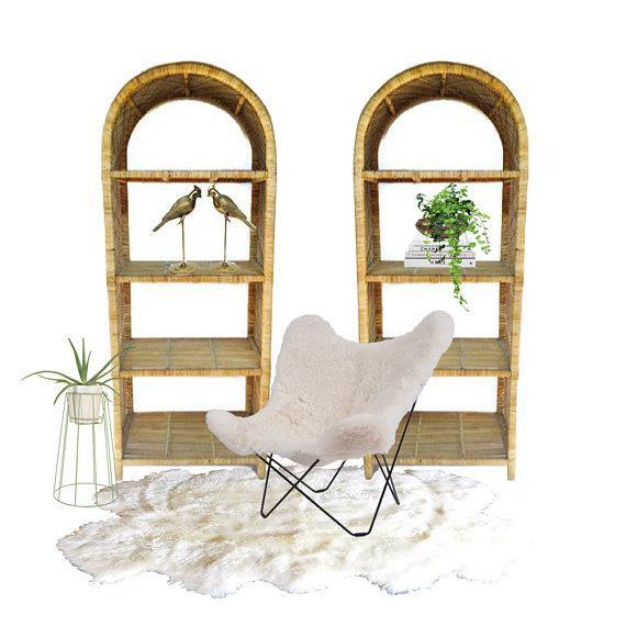 1970s Vintage Rattan Etagere Arched Bookcases - A Pair For Sale - Image 4 of 12