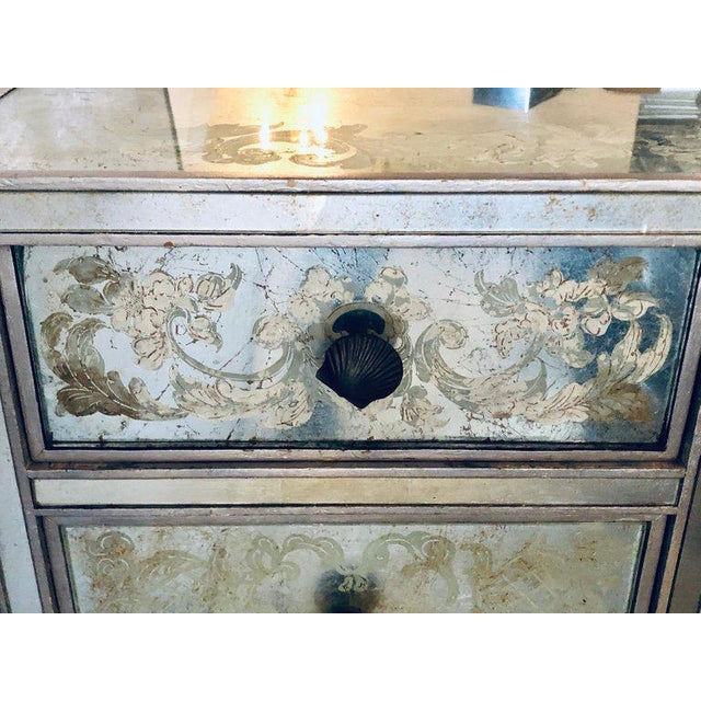 Art Deco Era Mirrored Reversed Paint Decorated Églomisé Desk or Vanity For Sale - Image 9 of 13