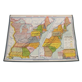 "Vintage Schoolhouse ""Social Science Usa State Claims and Ratification"" Map"