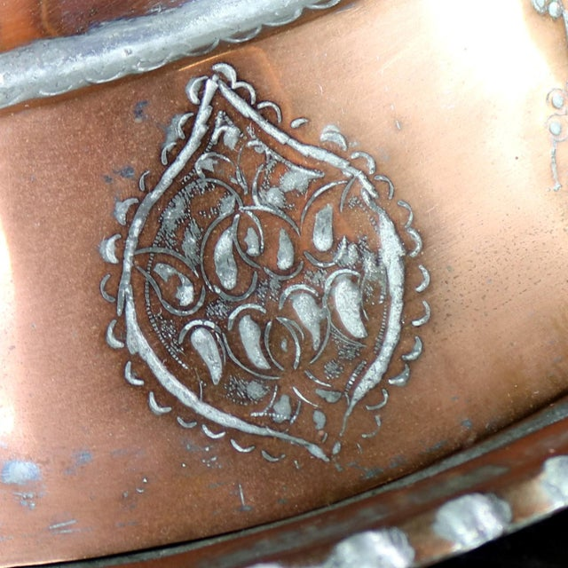 Antique Turkish Ottoman Copper Lidded Bowl Hand Forged Hand Chiseled and Tinned For Sale - Image 12 of 13