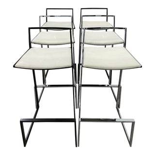 Set of Six Chrome and Espresso Bar Stools Style of Milo Baughman For Sale