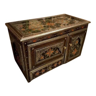 Moroccan Metal & Camel Bone Inlay Cabinet