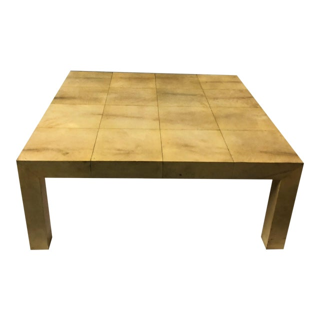 Karl Springer Modern Lacquered Goatskin Coffee Table For Sale