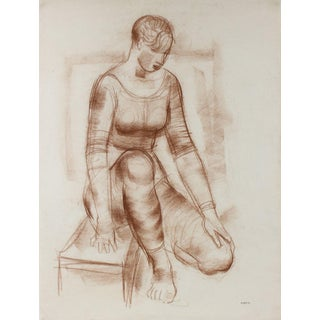 Sepia Seated Woman Early-Mid Century Pastel For Sale