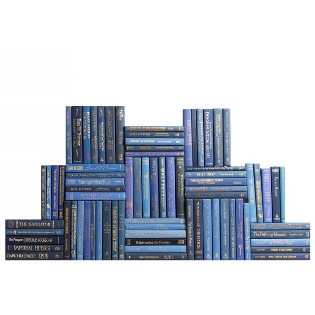 Modern Blue & Gold Book Wall - 75 - Image 1 of 2