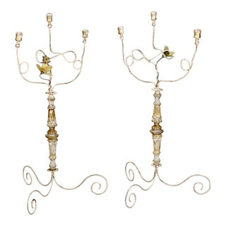 Tall 3-Light Italian Candelabra with Antique Elements - a Pair