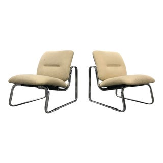 1980s Modern Chrome Steelcase Chairs - a Pair For Sale