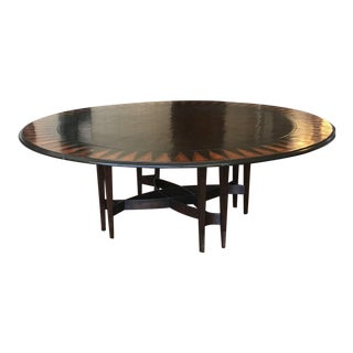 Custom Made Round Dining Table With 10 Designer Chairs