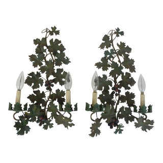 Mid Century Italian Tole Sconces of Grapes and Vines - a Pair