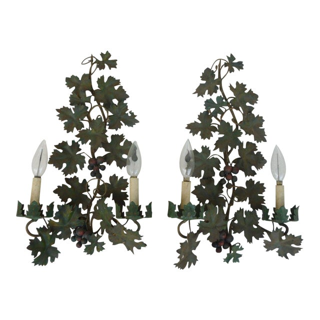 Mid Century Italian Tole Sconces of Grapes and Vines - a Pair For Sale