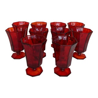 Vintage Independence Ruby Red Ice Tea/Water Goblets - Set of 10 For Sale