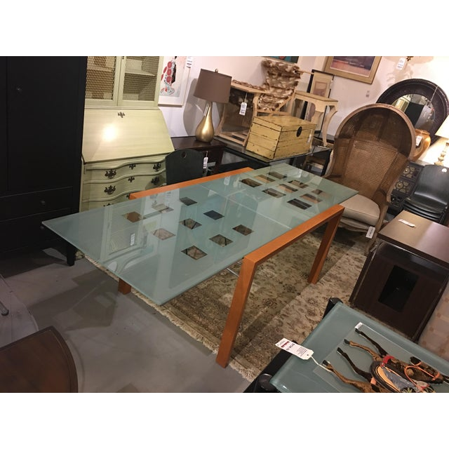 Ligne Roset Extensia Cherry & Glass Dining Table For Sale - Image 9 of 10