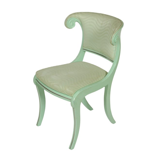 Hollywood Regency Aqua Lacquered Klismos Dining Chairs - Set of 6 For Sale - Image 3 of 5