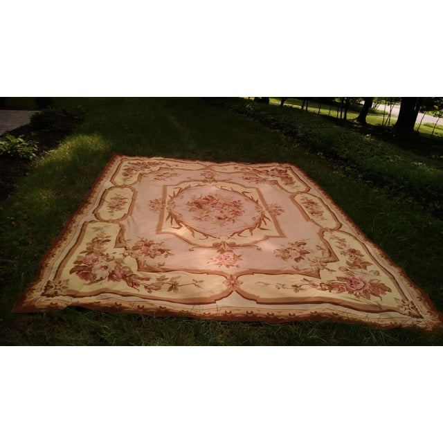 Floral Aubusson Wool Rug - 7′12″ × 9′10″ - Image 8 of 8