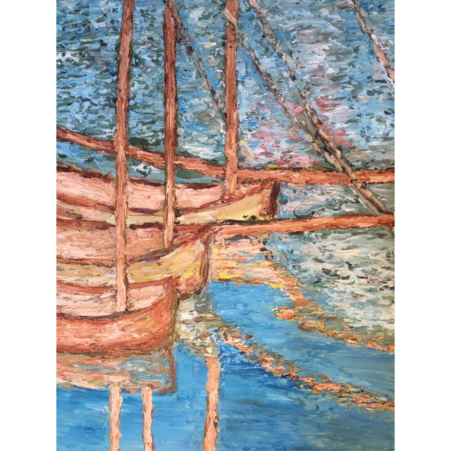 Vintage Mid-Century S. Kim Impressionist Inspired Seascape Oil Painting For Sale In Palm Springs - Image 6 of 10
