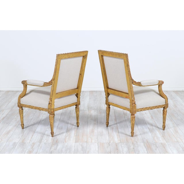 1920s French Antique Louis XVI Giltwood Arm Chairs-A Pair For Sale - Image 5 of 12
