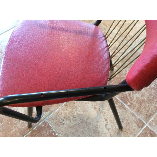 Mid-Century Red Vinyl Dining Chair - Image 8 of 8