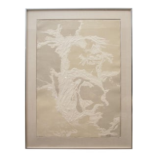 Oversized Custom Framed Embossed Paper Abstract Print For Sale